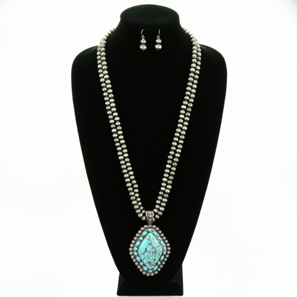 Turquoise Stone Beaded Necklace Set