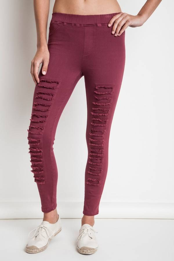 Umgee Wine Color Distressed Jeggings with High Waist