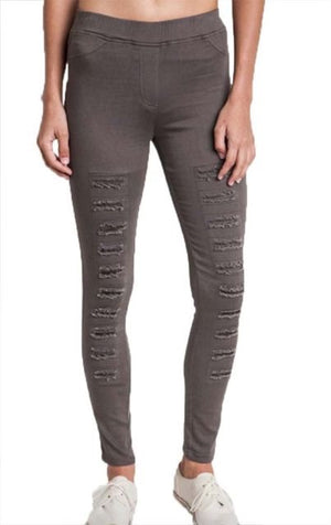 Umgee Olive High Waist Distressed Jeggings