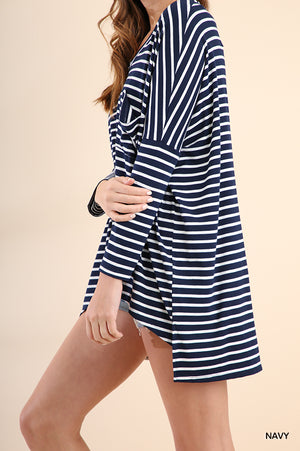 Casual Navy/White Stripe Top