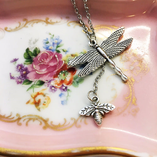 Dragonfly and Bee necklace.
