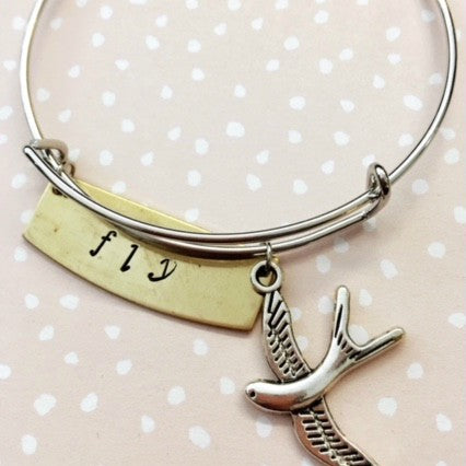 Handstamped bird bangle.