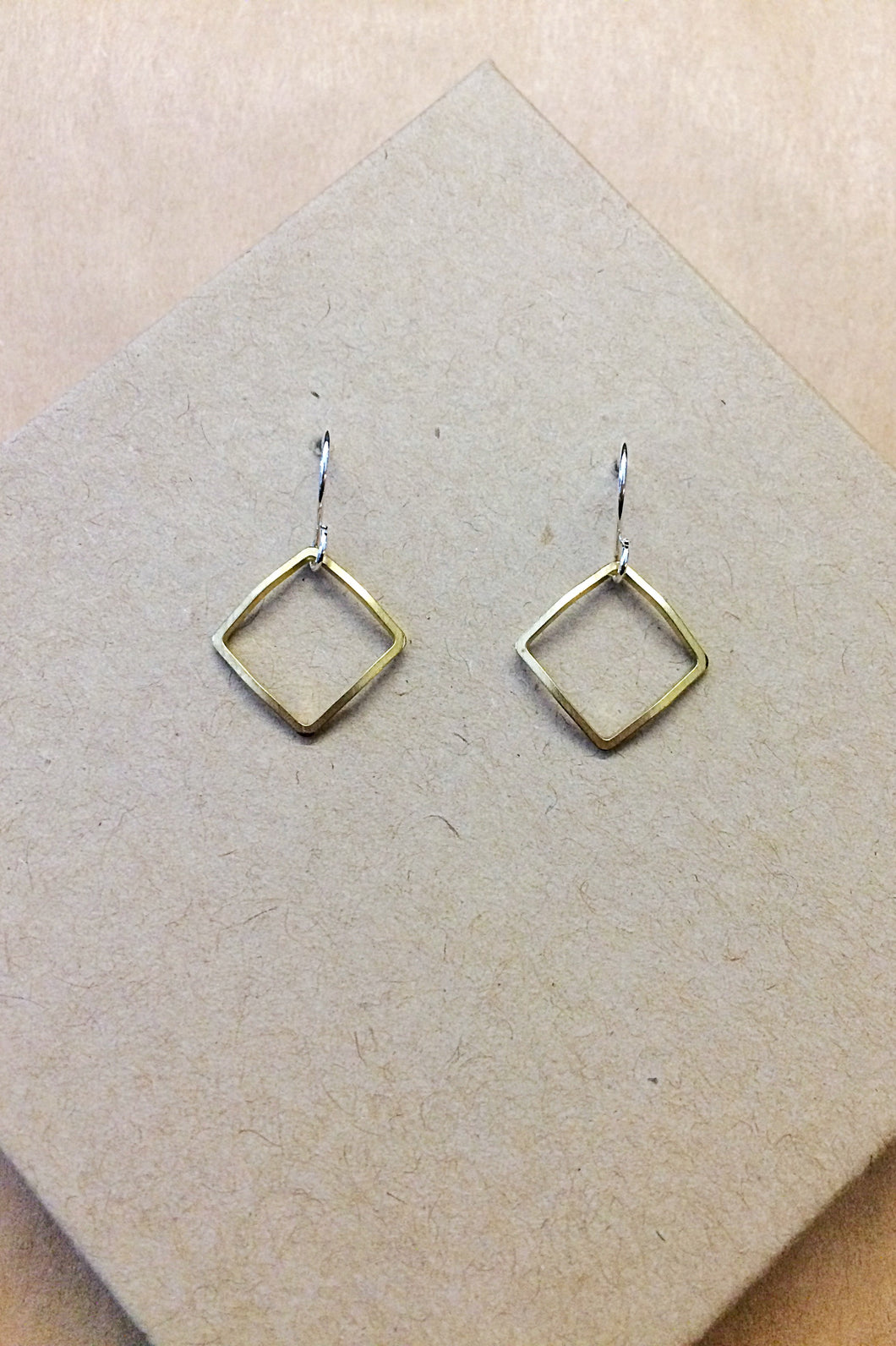 Geometric Curved Raw Brass Earrings
