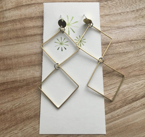 Manchester. Geometric raw brass earrings