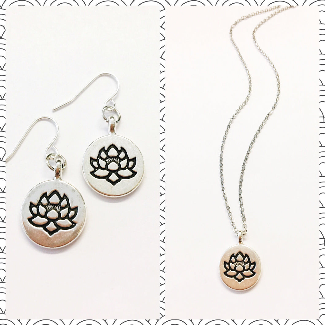 Stamped Lotus disc earring and necklace set. Free shipping.