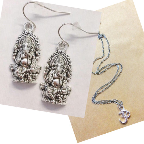 Ganesh earrings with free ohm necklace