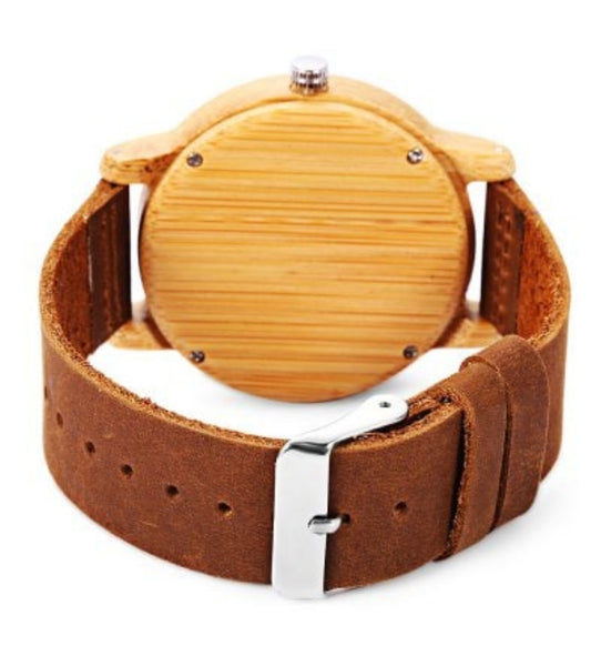 BOBO BIRD Bamboo Wood Quartz Watch With Soft Leather Strap