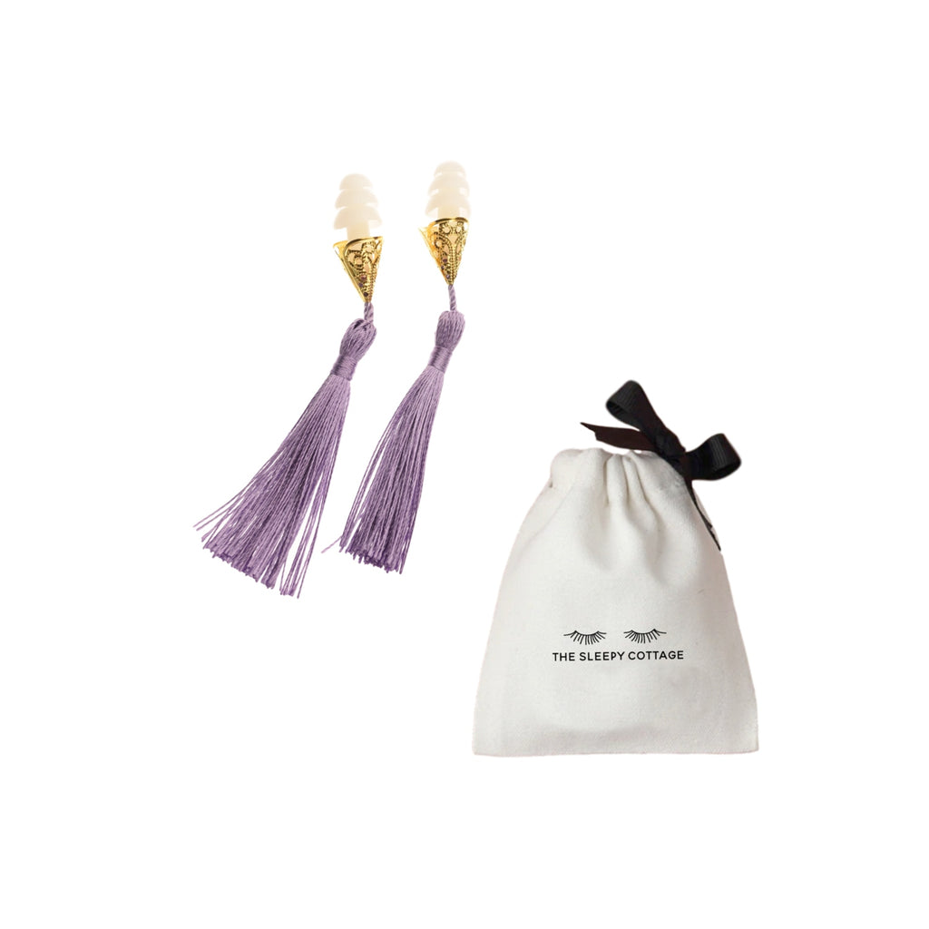 The Sleepy Cottage - Lavender Holly Golightly Tassel Earplugs - Charm City Noir
