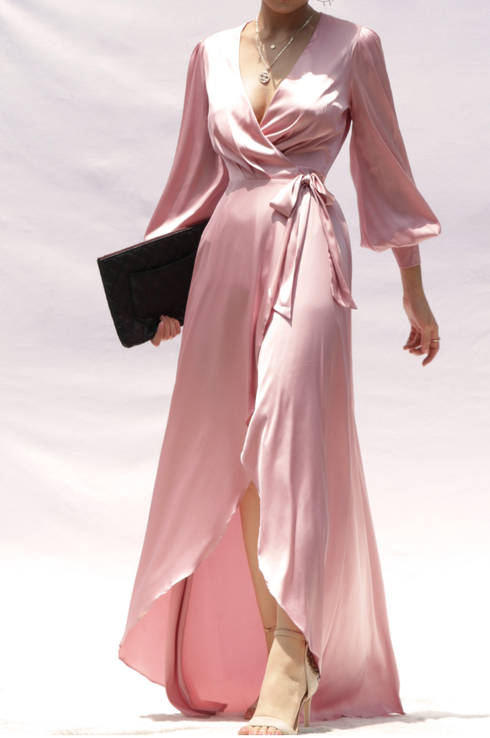 Love It Puff Sleeve Satin Dress