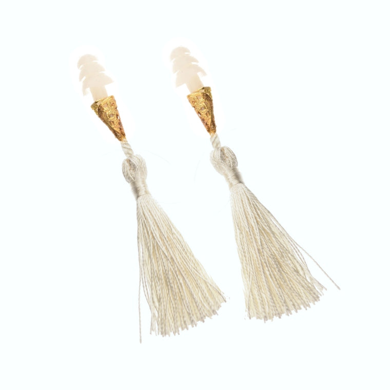 The Sleepy Cottage - Holly Golightly Tassel Earplugs in White - Charm City Noir