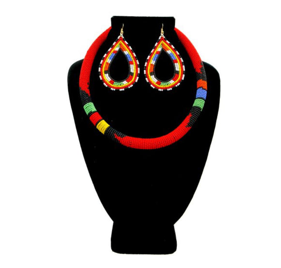 Swahili Beaded Necklace and Earrings Set