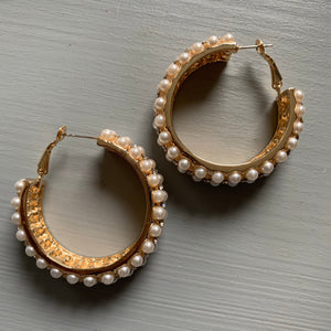 Gilded Pearl and Stone Hoops