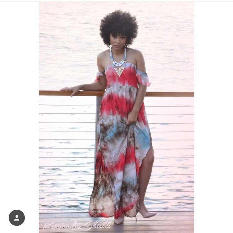 Off-Shoulder Tie-Dye Maxi Dress