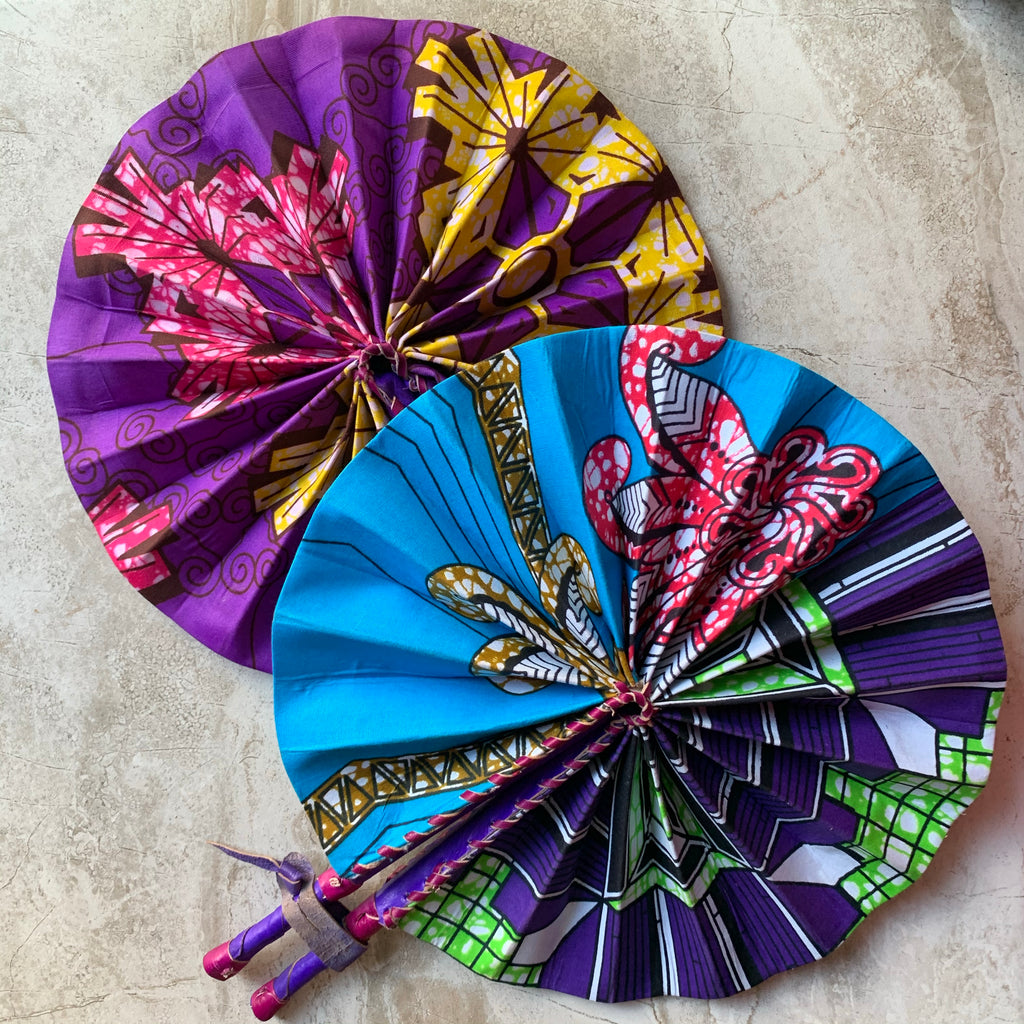 Akua Ankara Leather Fans - (Best Seller!)
