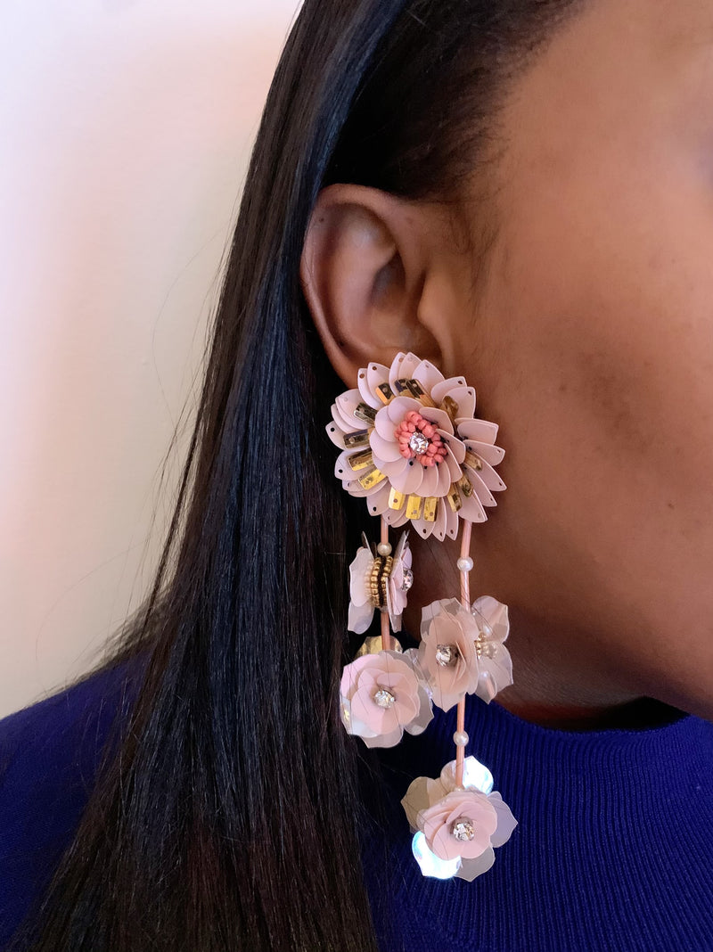 Oversized Flower Post and Vine Drop Earring