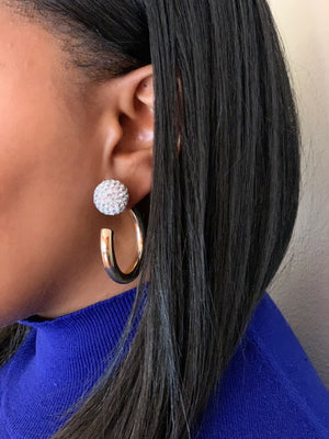 Pearl and Hook Hoop Earring