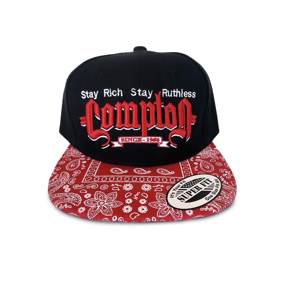 Stay Rich & Ruthless Compton Hat (Black/Red Paisley)