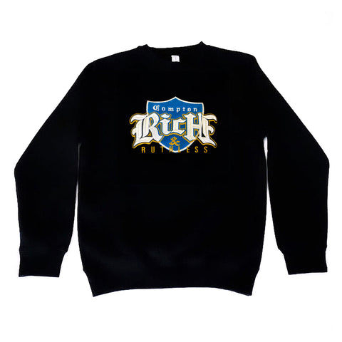 Rich & Ruthless Compton Crest Sweater (Black/Blue)