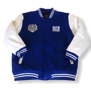 Real G's Stay Rich & Ruthless Letterman Jacket (Blue)