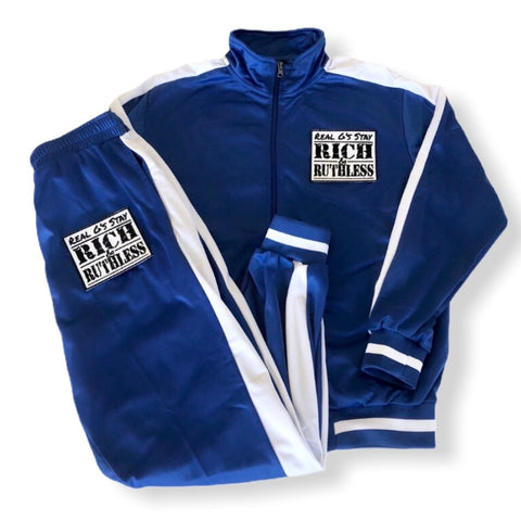 Real G's Stay Rich & Ruthless Tracksuit blue
