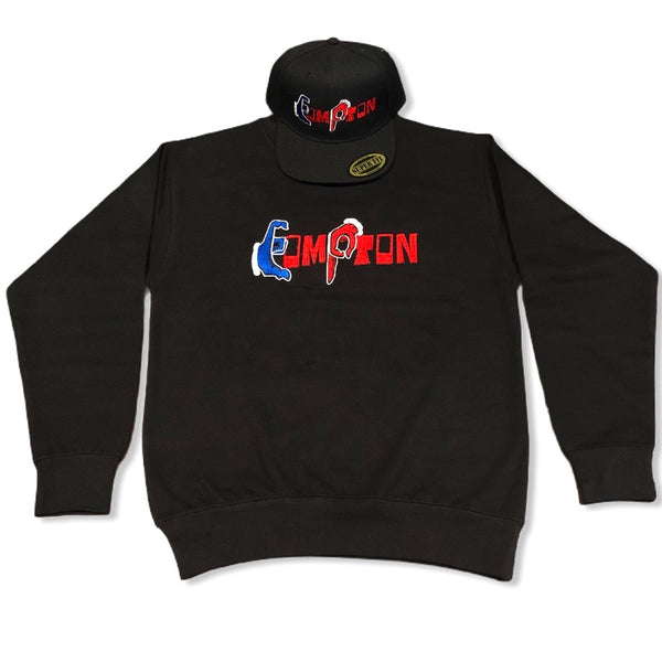 'Compton Unity' Sweatshirt & Snapback Ensemble (Red Brick) black