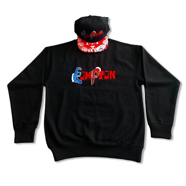 'Compton Unity' Sweatshirt & Snapback Ensemble (Red Brick) red