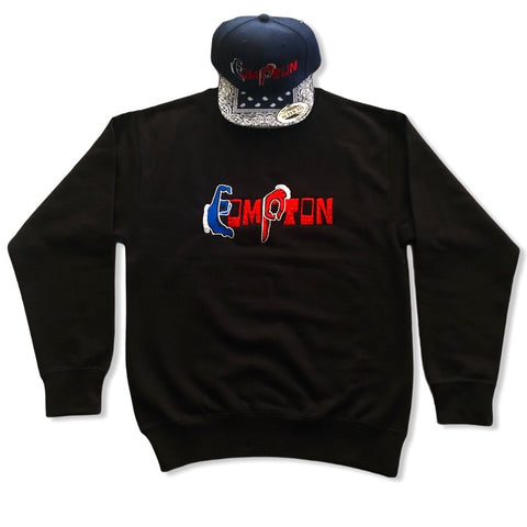 'Compton Unity' Sweatshirt & Snapback Ensemble (Red Brick) navy