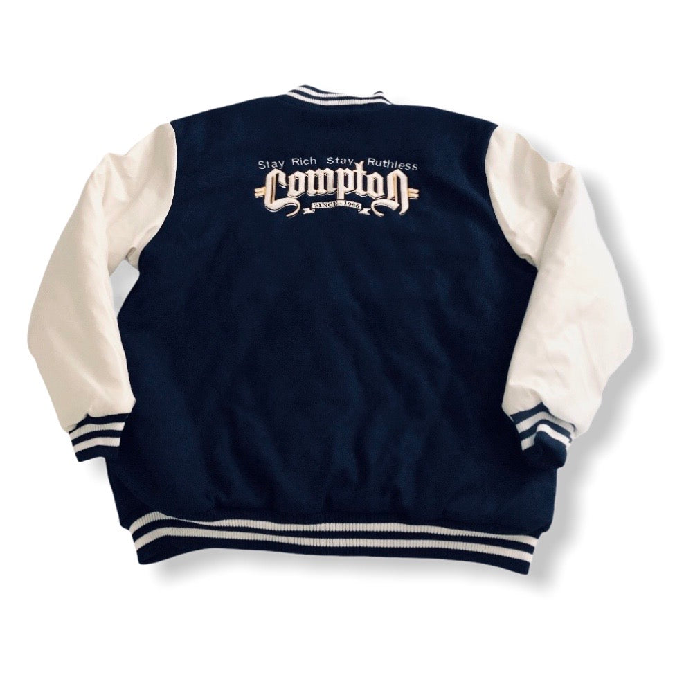Stay Rich Stay Ruthless Letterman Jacket (Navy)