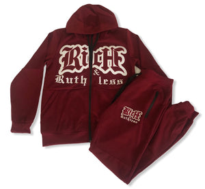 Rich & Ruthless Active Sweat Suit - Burgundy