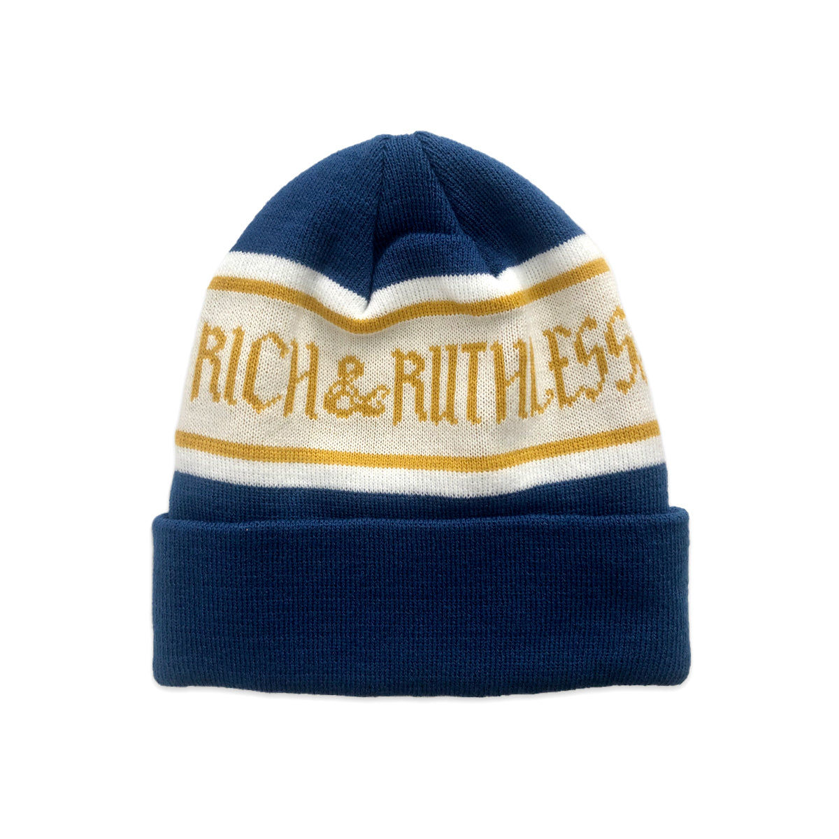 Rich & Ruthless Beanie (Blue/Gold)