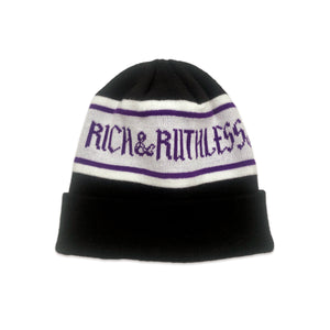 Rich & Ruthless Beanie (Purple/Gray)