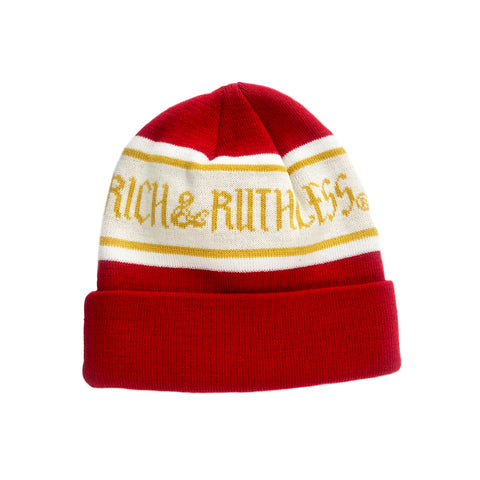 Rich & Ruthless Beanie (Red/Gold)