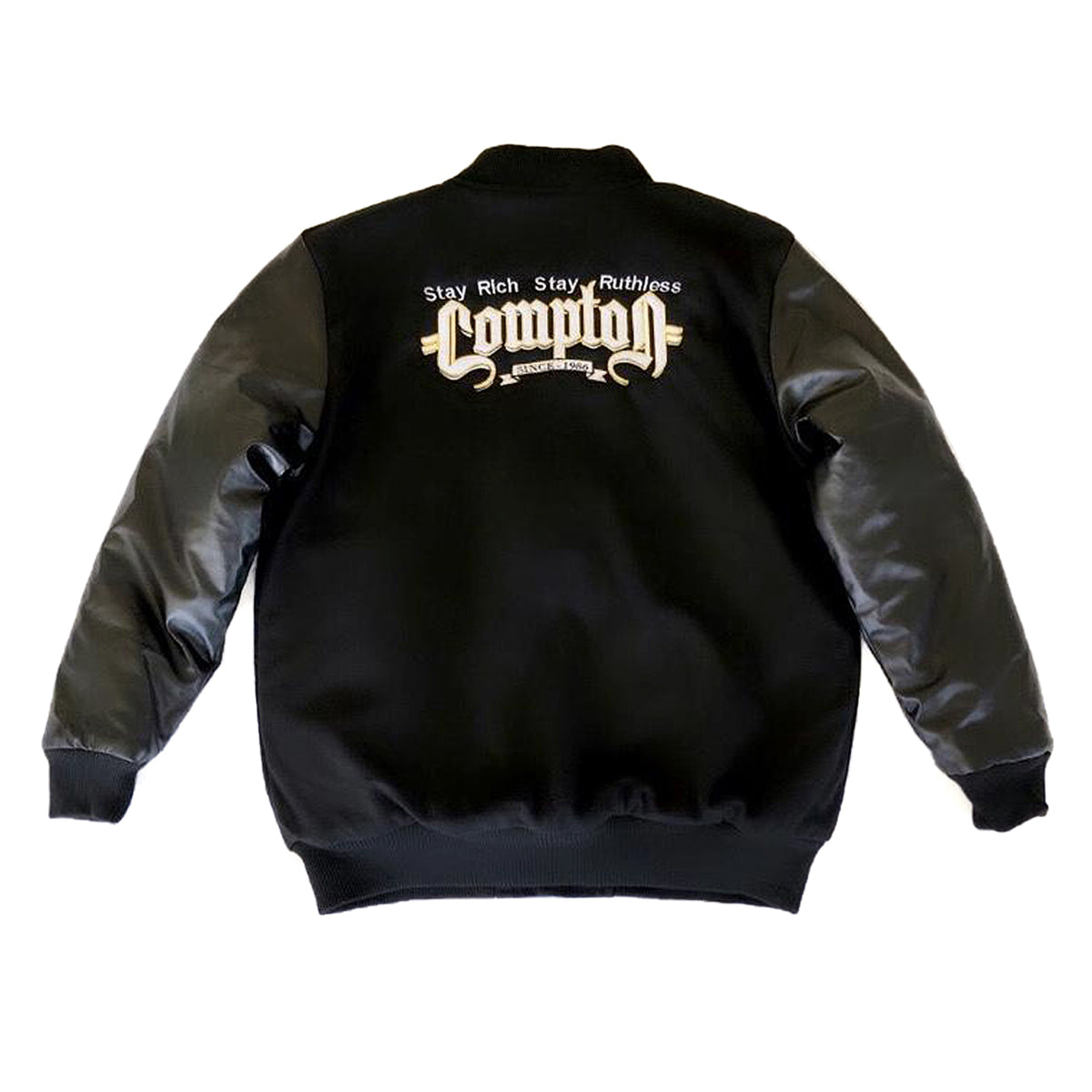 LIMITED EDITION - Stay Rich. Stay Ruthless. Compton Est. 1986 Letterman Jacket (Black)
