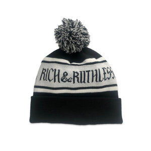 Rich & Ruthless Pom Pom Beanie (Black/Gray)