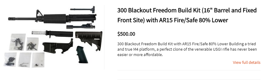 "300 Blackout Freedom Build Kit (16"" Barrel and Fixed Front Site) with AR15 Fire/Safe 80% Lower"