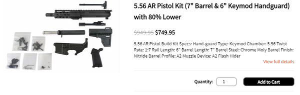 "5.56 AR Pistol Kit (7"" Barrel & 6"" Keymod Handguard) with 80% Lower"
