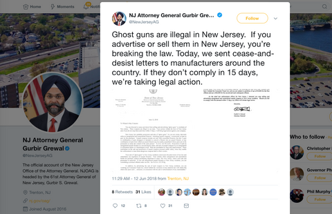 Attorney General Twitter Post - New Jersey Senate Bill No. 2465 (1R)