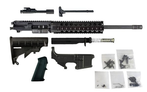 "Complete Rifle Build Kit - 300 Blackout (16"" Barrel, Free Float Quad Rail) AR15 - 80% Lowers"
