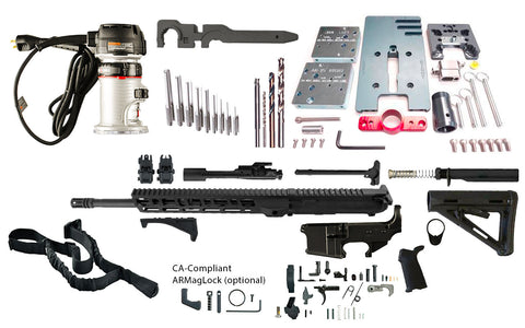 "Ultimate AR 15 Rifle Kit (5.56 16"" Nitride & M-LOK Handguard) - 80% Lowers"