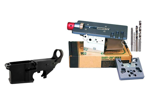 Easy Jig Gen 2 with Tooling, compatible with AR9, and AR-15 lower receivers