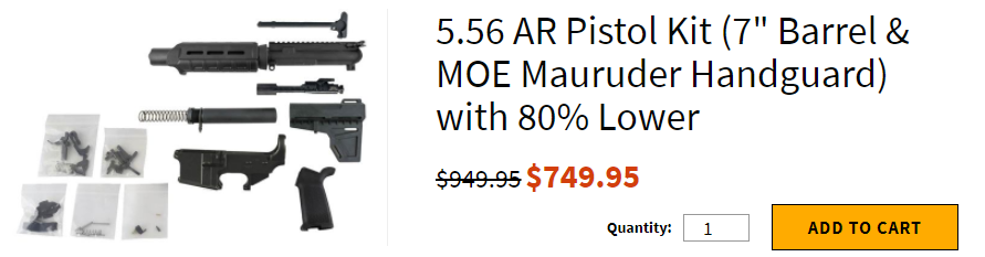 "5.56 AR Pistol Kit (7"" Barrel & MOE Mauruder Handguard) with 80% Lower"