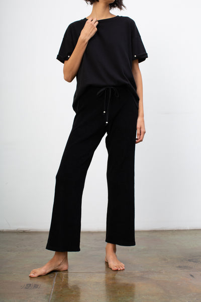 terry cropped flare pant
