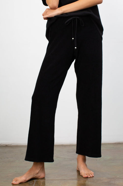 Terry Cropped Flare Pant Jet