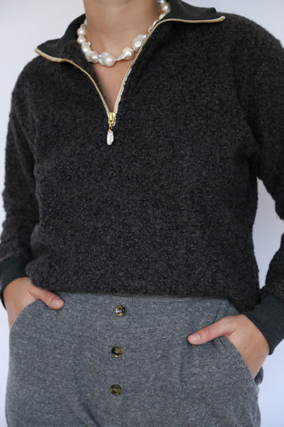 curly 1/2 zip pullover