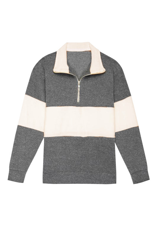Terry 1/2 Zip Heather Grey