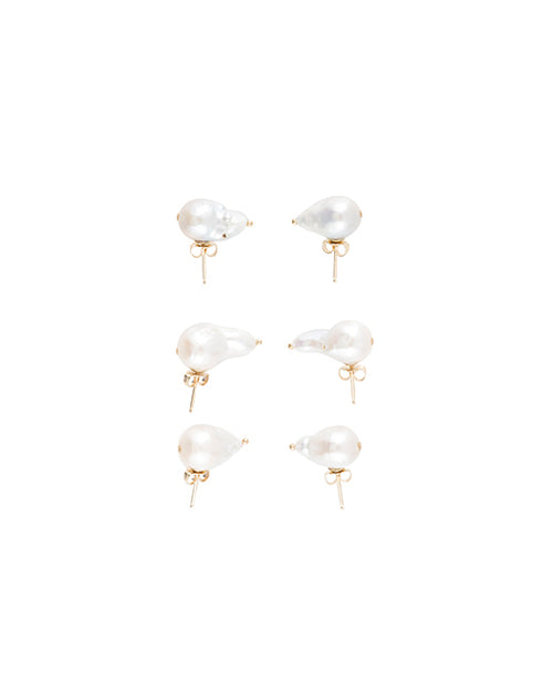 June White Stud Earring