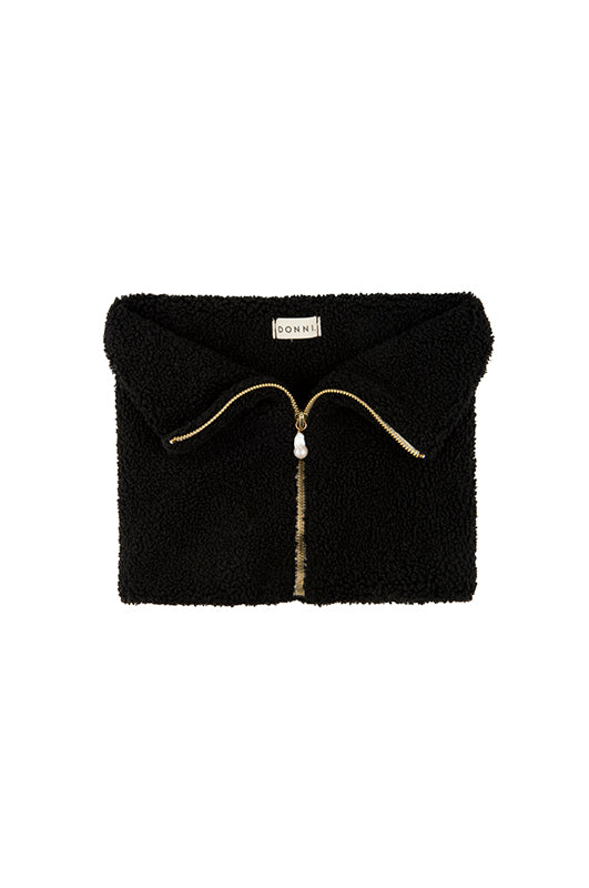 Mini Sherpa Zip Cuff | black