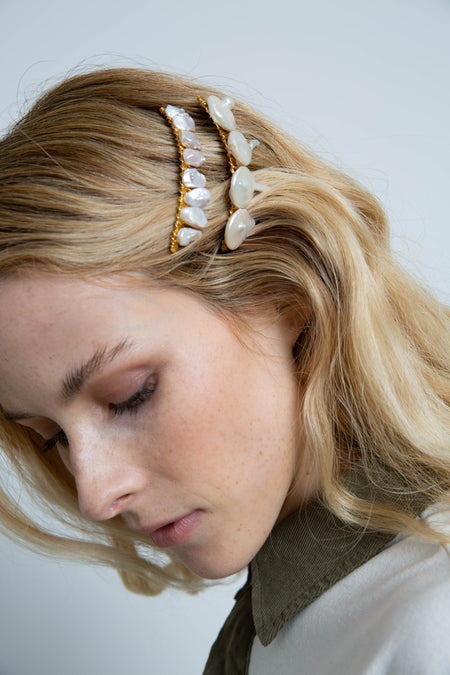 Large Pearl Stick Barrette