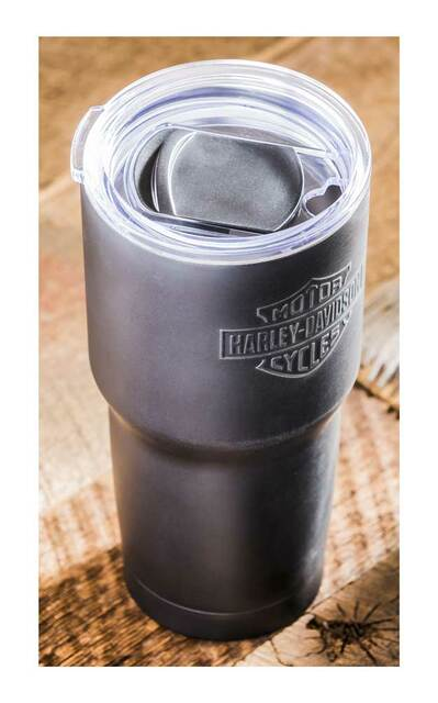 HARLEY-DAVIDSON EMBOSSED B&S STAINLESS STEEL TRAVEL CUP, 24 OZ