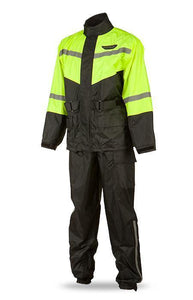 FLY RACING MEN'S 2-PIECE BLACK AND HI-VIZ RAIN SUIT